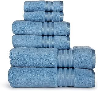 Casa Lino -Premium Quality Zero Twist, Air Soft, 6 Piece Towel Set, 2 Bath Towels, 2 Hand Towels 2 Washcloths, Machine Washable, Hotel Quality, Towel Gift Set- Dove Cotton Collection (Electric Blue)
