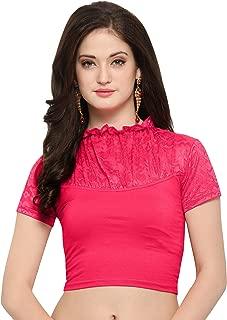 Janasya Indian Tunic Tops Readymade Cotton Lycra Saree Blouse for Women (BL031-79PINK)