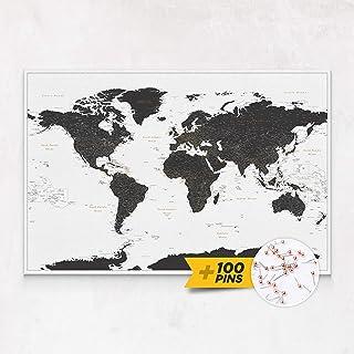 Mappa Del Mondo Da Parete - Stampa su Tela - Dettagliato Mappa Sughero con Puntine - 3 Dimensioni: 100x70 cm / 120x80 cm /...
