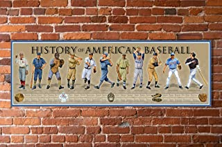 """History of American Baseball Poster - 11 3/4"""" By 36"""" Timeline Print"""