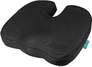 Beautissu Poduszka do siedzenia ortopedyczna Memory Foam BeauErgo FS poduszka do siedzenia krzesło & samochód – 45 x 35 x ...