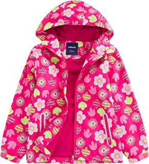 Seeduck Girls' Outdoor Floral Fleece Lined Windproof Jacket with Hood