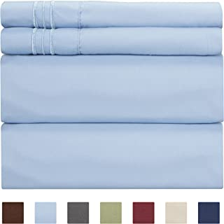 Full Size Sheet Set - 4 Piece - Hotel Luxury Bed Sheets - Extra Soft - Deep Pockets - Easy Fit - Breathable & Cooling - Wrinkle Free - Comfy – Light Blue Bed Sheets– Baby Blue Fulls – 4 PC