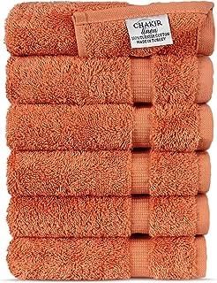 Luxury Spa and Hotel Quality Premium Turkish Cotton Washcloth Towel Set(Coral)