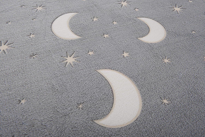 Manta de franela con dise/ño de estrellas de la luna y unicornio para dormitorio muy suave ni/ñas color gris c/álida adultos acogedora para ni/ños FiNeWaY de forro polar