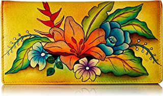 Anna by Anuschka Women`s Handpainted Leather Ladies Wallet Snap Button Closure
