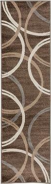 Rugshop Modern Wavy Circles Design Runner Rug 2' x 10' Brown