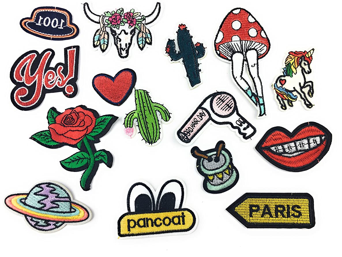 15 PCS Assorted Iron On Embroidered Motif Patches Applique DIY Decoration Patches for Jeans Clothing Denim Jacket Handbag Shoes