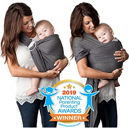 Kids N' Such 4-in-1 Baby Wrap Carrier & Baby Sling Carrier for Infant, Charcoal Gray