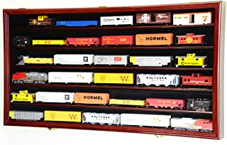 HO Scale Train Display Case Cabinet Wall Rack w/ UV Protection- Lockable -Cherry