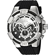 Men's Bolt Stainless Steel Quartz Watch with Silicone Strap, Black, 32 (Model: 24691)