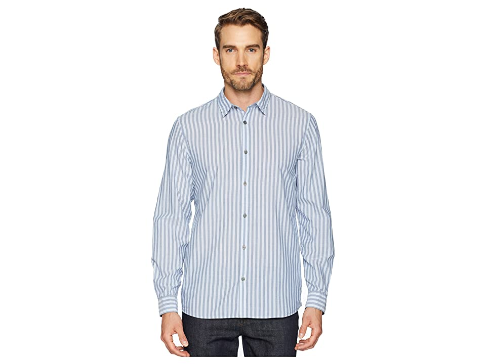 Calvin Klein Long Sleeve Washed Stripe Button Down Shirt (Clear Sky) Men