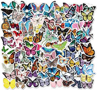 Windows SAVITA 200Pcs Butterfly Scrapbook Stickers Journals Colorful PET Butterfly Stickers DIY Self-Adhesive Butterfly Decoration for Envelope Luggage Scrapbook