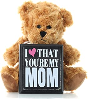 Mom Gifts from Daughter Son or Kids for Birthday Christmas Thank You Gift - Teddy Bear and Mom Plaque Best Present for Mother in Law Step Mom or First Mothers Day for New Moms