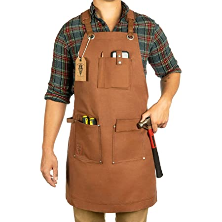 Adjustable Universal Fit Brown Details about  /Heavy Duty Rugged Shop Apron With Pockets