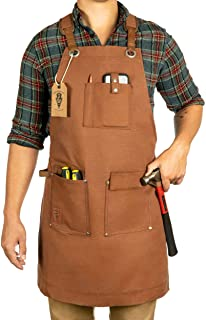 Waxed Canvas Heavy Duty Work Apron With Pockets - Deluxe Edition with Quick Release Buckle Adjustable up to XXL for Men and Women - Texas Canvas Wares (Brown Deluxe Edition)
