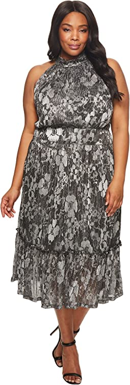 MICHAEL Michael Kors - Plus Size Metallic Knit Tier Midi Dress