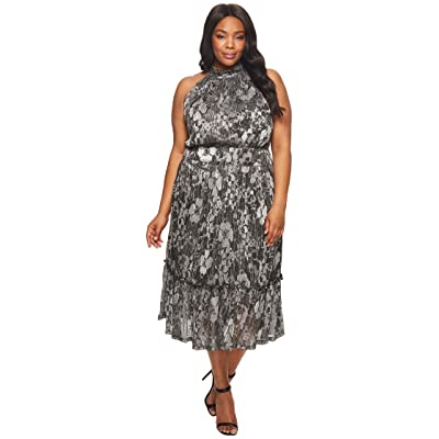 MICHAEL Michael Kors Plus Size Metallic Knit Tier Midi Dress (Black/Silver Foil) Women