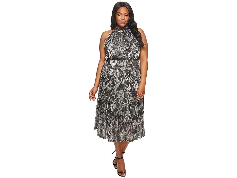 MICHAEL Michael Kors Plus Size Metallic Knit Tier Midi Dress (Black/Silver Foil) Women