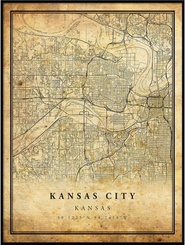 Kansas map poster art print wall decor Travel Map office home Gift