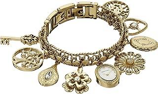 Women's 10-8096CHRM Swarovski Crystal Accented Gold-Tone Charm Bracelet Watch