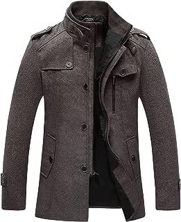 Men's Wool Blend Jacket Stand Collar Windproof Pea Coat