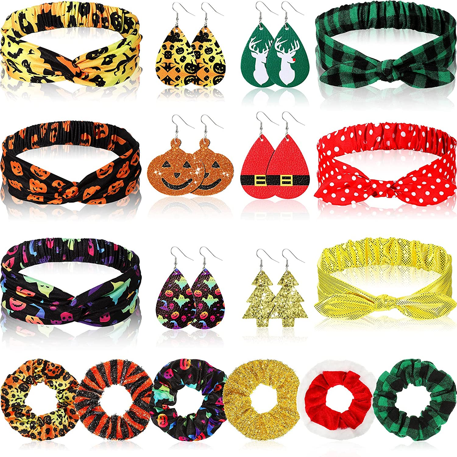 18 Pieces Halloween Christmas Faux Leather Drop Dangle Earrings Elastic Hair Scrunchies Knotted Bowknot Headbands Set for Women