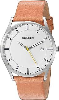 Skagen Mens Quartz Watch, Analog Display and Leather Strap SKW6282