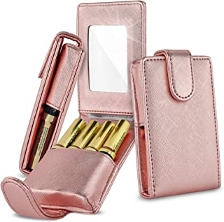 Celljoy Lipstick Travel Case for LipSense, Younique, Kylie, Liquid Lipstick and Lip Gloss - Fits 4 Tubes [Touch Up Mirror Business - Credit Card Slot] - Travel Purse Storage (Rose Gold Metallic)