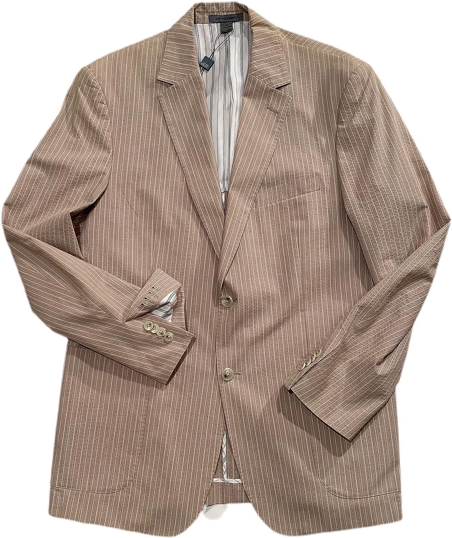 JOHNSTON Murphy Men's Taupe Striped Seersucker Partially Lined 2 Button 2 Vent Working Cuff Blazer Medium