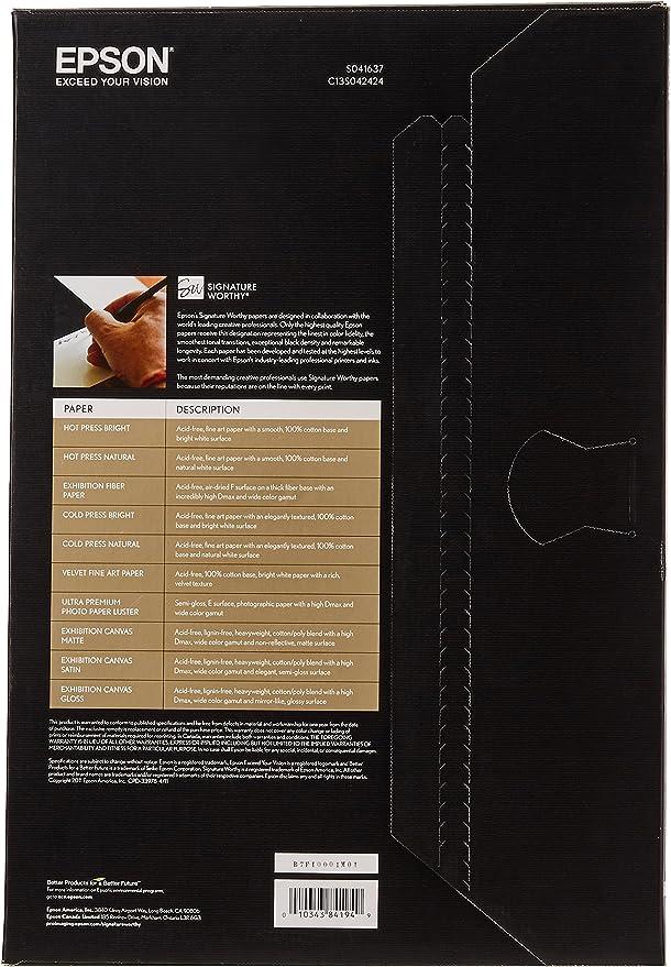 Epson C13s041637 Velvet Fine Art Paper Inkjet 260g M2 Din A3 20 Blatt Pack Epson Bürobedarf Schreibwaren