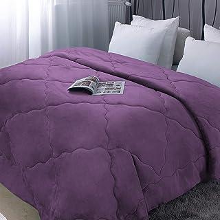 Couette 220x240cm Épais Hiver en Flanelle Violet 250g/㎡ Polaire Couverture Doux Chaude Courtepointe Édredon Literie Matela...