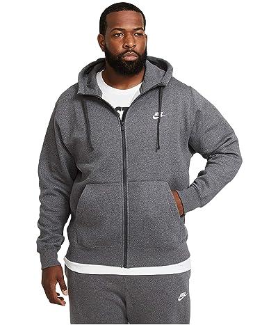 Nike Big Tall NSW Club Hoodie Full Zip (Charcoal Heathr/Anthracite/White) Men