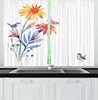 Ambesonne Watercolor Kitchen Curtains, Springtime Flowers with Birds Unusual Color Scheme Brush Effect, Window Drapes 2 Panel Set for Kitchen Cafe Decor, 55