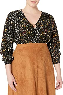 City Chic Women's Apparel Women's Plus Size Cropped top with Shirred Detailing and Centre Ring