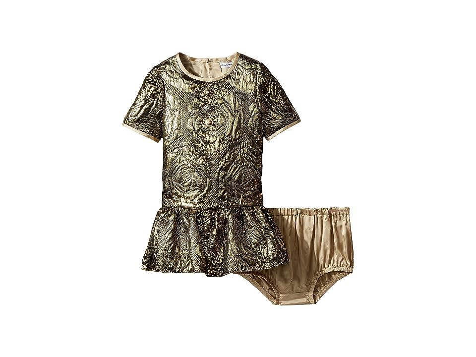 Dolce & Gabbana Kids Floral Dress (Infant) (Gold) Girl