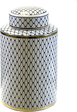 Sagebrook Home VC10464-03 Ceramic Lidded Jar, White/Blue/Gold Ceramic, 7.25 x 7.25 x 12 Inches