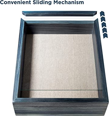 Premium Shadow Box Frame - Display Case - 8x10 inches - Interior 2 inches deep - Blue Weathered Rustic Wood - Display Your Ph