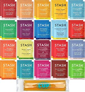 Stash Herbal & Decaf Tea Sampler - 40 Tea Bag, 20 Flavor Assortment - With By The Cup Honey Sticks