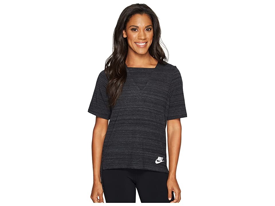 Nike Sportswear Advance 15 Short Sleeve Top (Black/White) Women