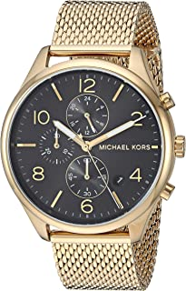 Michael Kors Men's Merrick Analog-Quartz Watch with Stainless-Steel-Plated Strap, Gold, 20 (Model: MK8645)