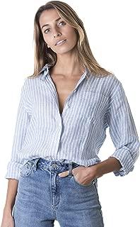 CAMIXA Womens 100% Linen Casual Shirts Slim Fit Button-Down Basic Blouse Top
