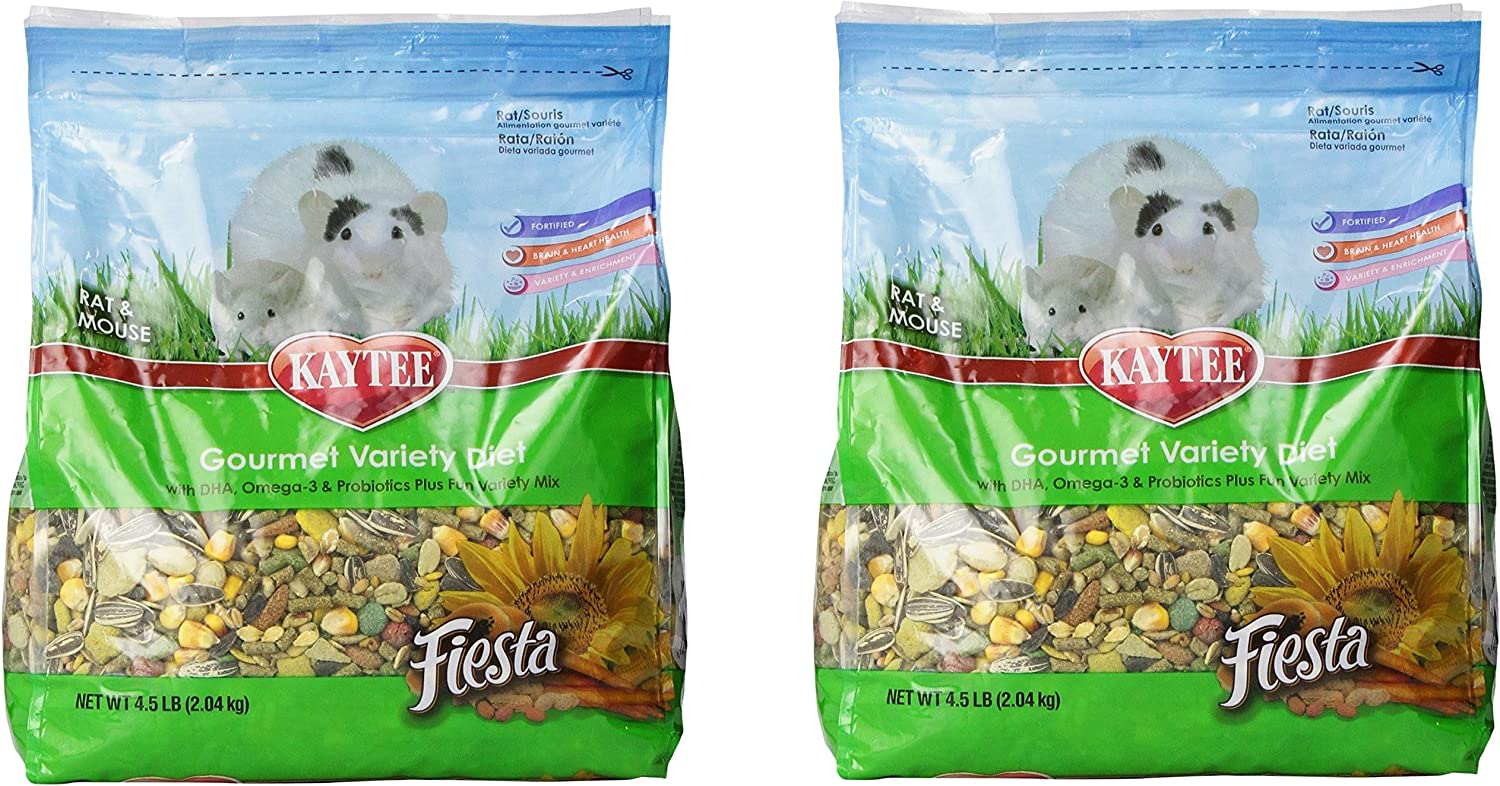 (2 Pack) Kaytee Fiesta for Mouse and Pet Rats, 4.5Pound Bags