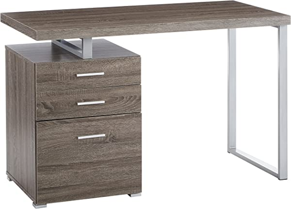 Office Desk With File Drawer And Reversible Set Up Weathered Grey