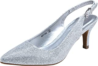 VOSTEY Womens MY134 Women Pumps Silver Size: 8 US