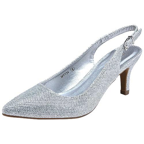 d452ec8a964 VOSTEY Women Low Heel Shoes Slingback Pumps (8