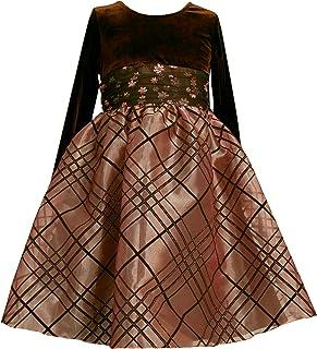 Bonnie Jean Little Girls' Long Sleeve Stretch Velvet to Novelty Organza Skirt,Brown,4T
