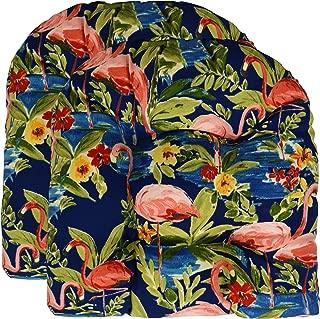 RSH Décor Set of 2 Indoor Outdoor Wicker Tufted U - Shape Chair Cushions - Flamingo Lagoon Navy (19