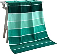 "Exclusivo Mezcla 100% Cotton Beach Towel, Pool Towel Gradient Green Striped (30"" x 60"")-Soft, Quick Dry, Lightweight, Abso..."