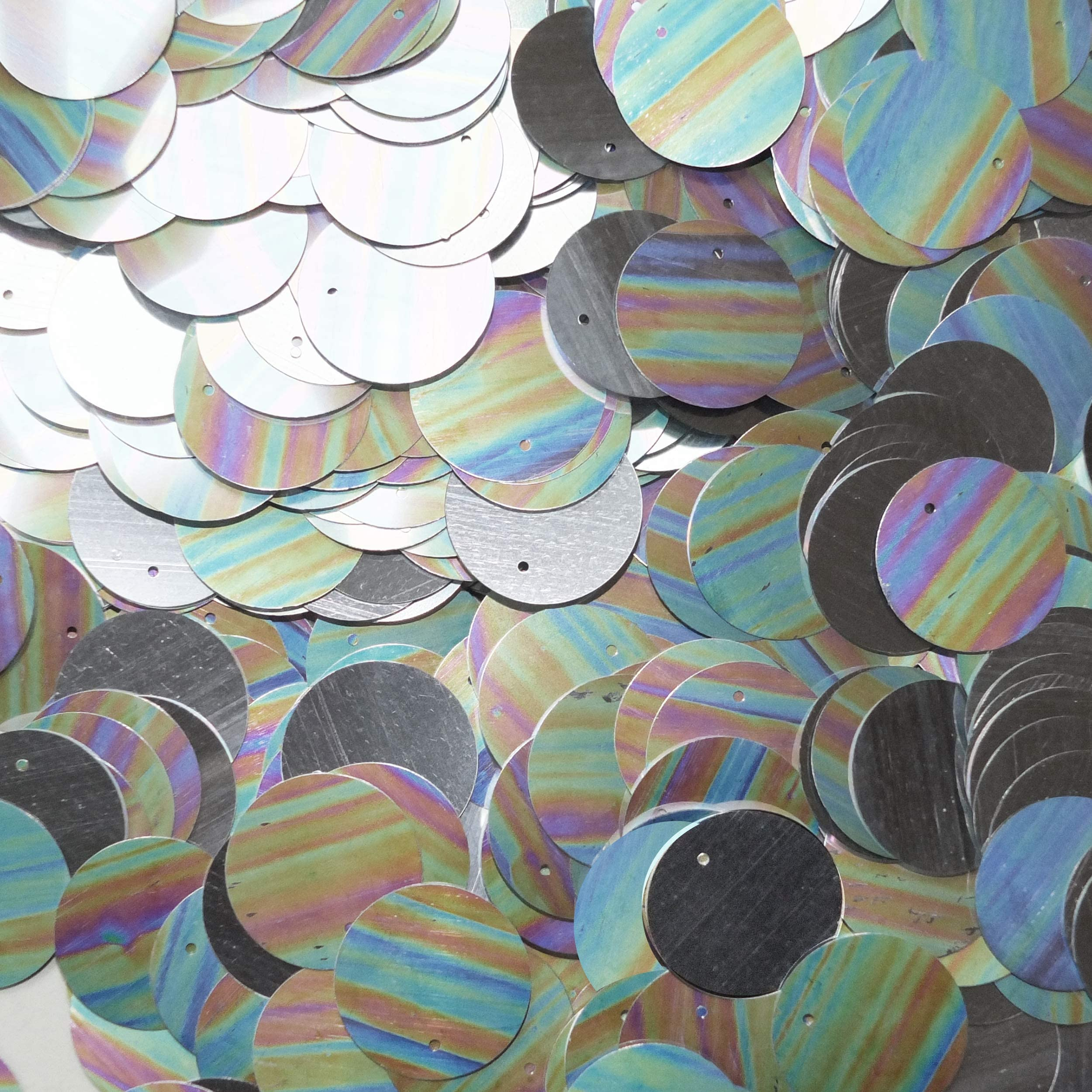 White Iris 20mm Paillettes Sequins Flat Top Hole 100 pieces Loose